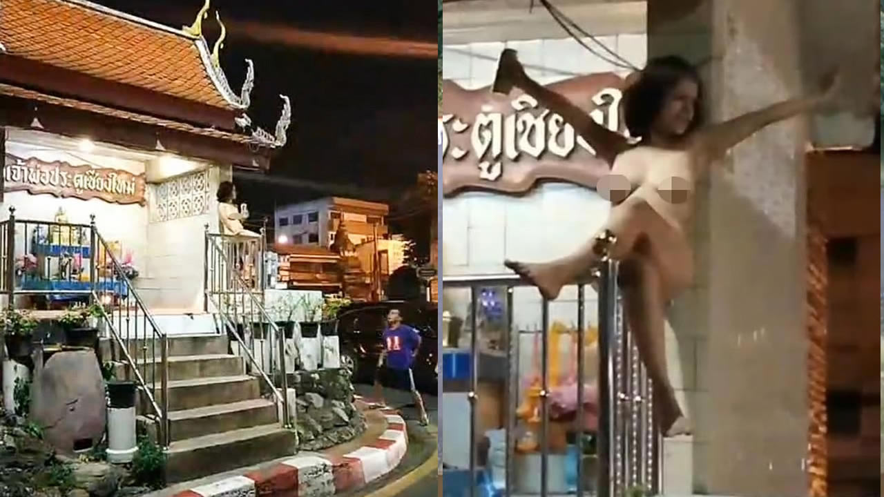 Drunk tourist strips naked then climbs onto Buddhist shrine