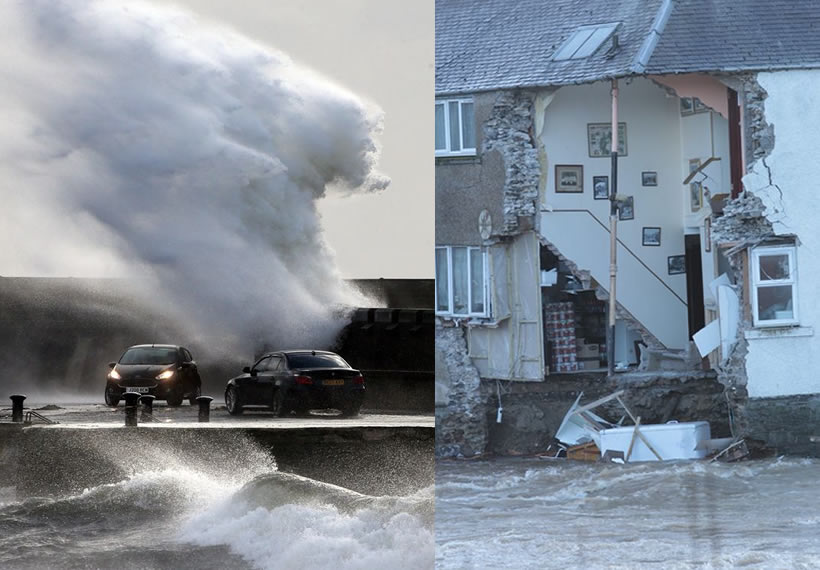 Hotel collapses into water as Storm Ciara batters UK with 80mph winds and heavy rain