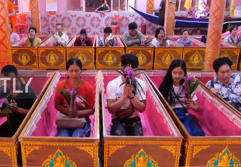 Unusual coffin ceremony resurrects believers in Bangkok