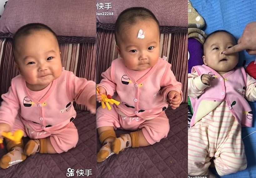 Playful baby immediately stops laughing, crying or moving every time her mother puts a sticker on the girl