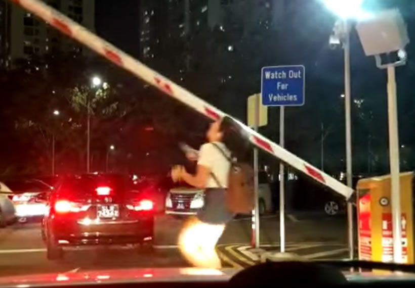 Internet laughs at antics of inattentive woman who got knocked down by carpark gantry arm
