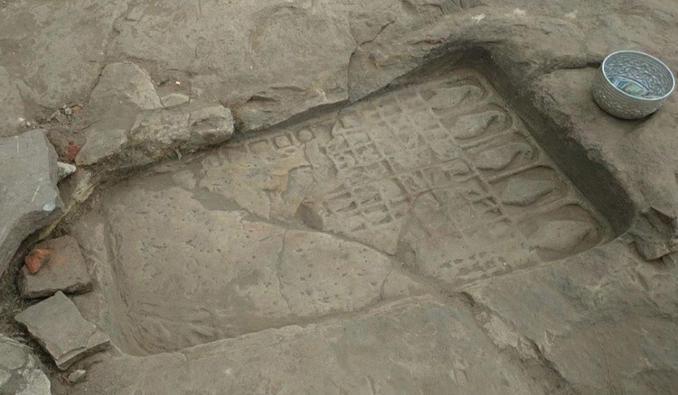 Ancient works of foot print of Buddha and statues are found