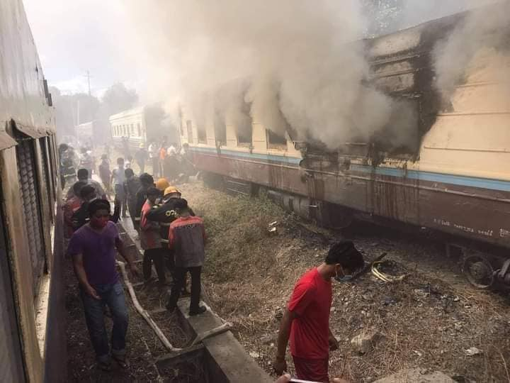 Fire at Mandalay Train Station