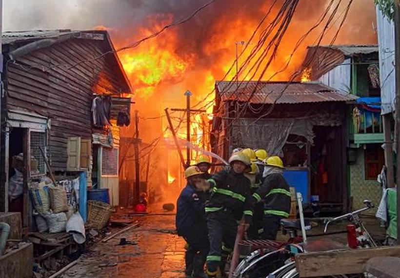 A fire broke out in Yangon's Thingangyun Township