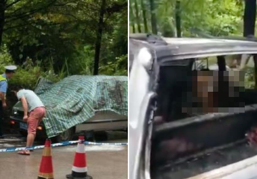 China granddad watches grandkids burn to death in locked car