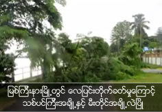 Heavy wind hit to Myit Kyi Nar and some trees and pylons are topple down