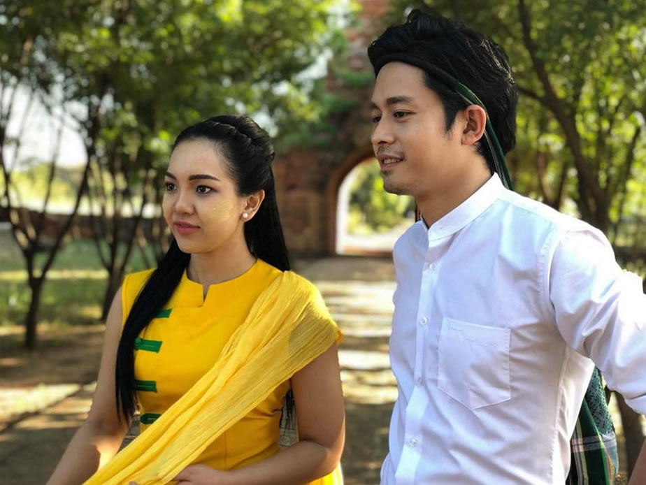 Daung and Nay Chi Oo shooting advertisement at Bagan