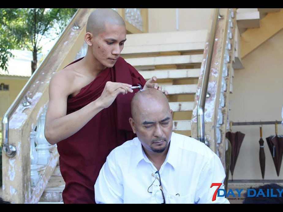 Pyae T Oo  assumed Buddhist monk-hood with his co-workers in media fields on his birthday
