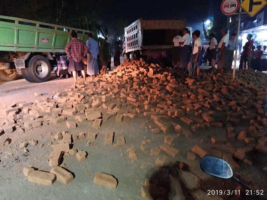 One over speed truck crush at Hmawbi
