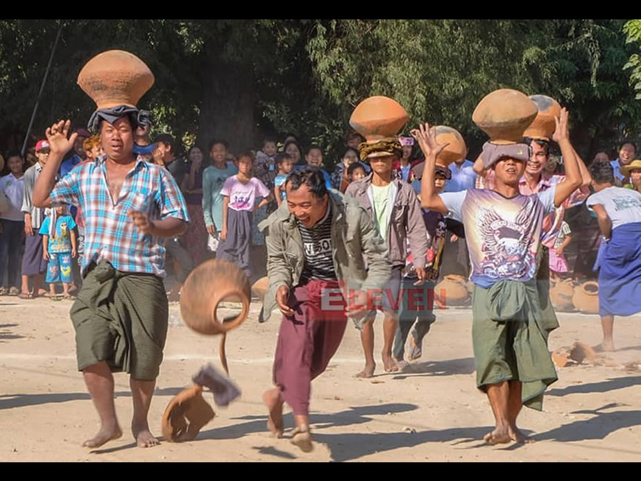 Pot carrying race at Sagaing