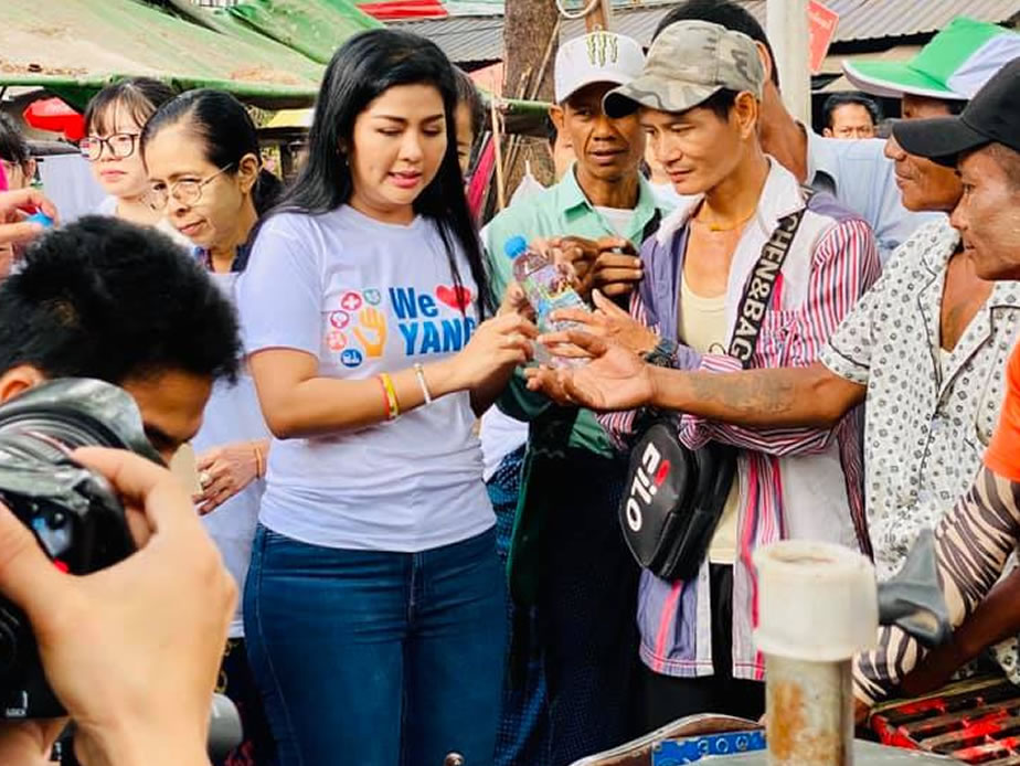 Khine Hnin Wai donated 500 Hand Sanitizer Wash and 13000 drinking water bottle